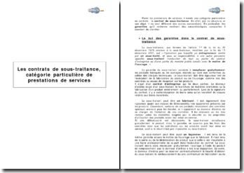 Les contrats de sous-traitance et la diversité des garanties (2006)