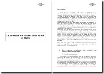 Le contrôle de constitutionnalité en Italie