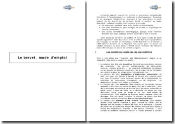 Le brevet, mode d'emploi