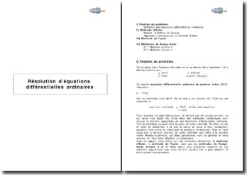 Résolution d'équations différentielles ordinaires
