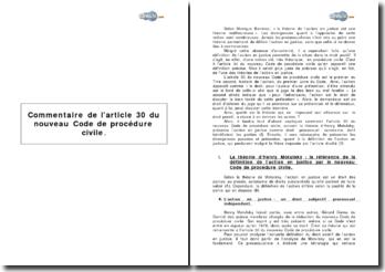 Commentaire de l'article 30 du nouveau Code de procédure civile