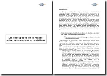 Les découpages de la France, entre permanences et mutations