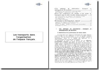 Les transports dans l'organisation de l'espace français