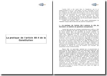 La pratique de l'article 88-4 de la constitution