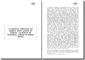 La question historique du rapport entre science et religion : la théorie de l'évolution (19éme et 20éme siècle)