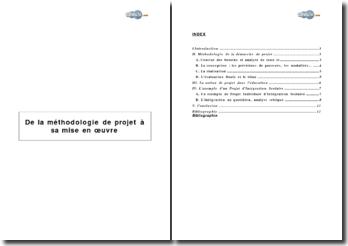 De la méthodologie de projet à sa mise en oeuvre