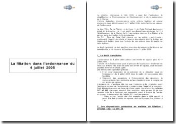 La filiation depuis l'ordonnance du 4 juillet 2005