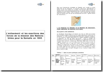 L'enlisement et les exactions des forces de la Mission des Nations Unies pour la Somalie en 1993