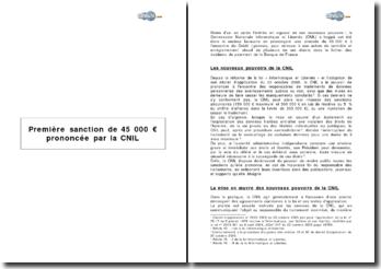 Première sanction de 45 000 € prononcée par la cnil