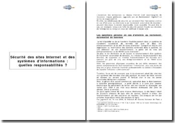 Sécurité des sites Iinternet et des systèmes d'informations : quelles responsabilités ?