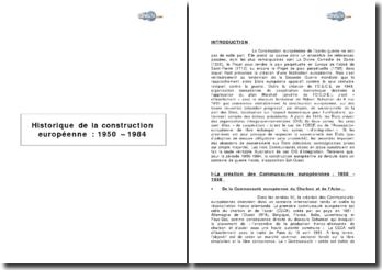 Historique de la construction européenne : 1950-1984