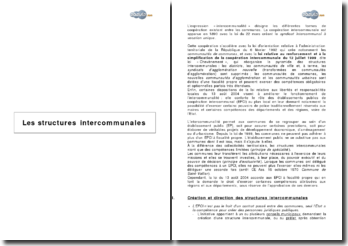 Les structures intercommunales