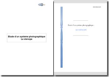 Etude d'un système photographique : le sténopé