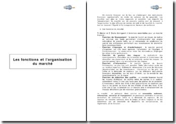 Les fonctions et l'organisation du marché