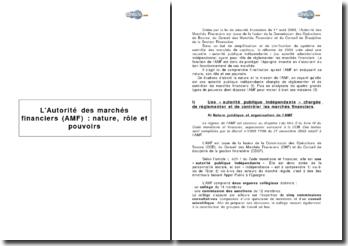 L'Autorité des marchés financiers (AMF) : nature, rôle et pouvoirs
