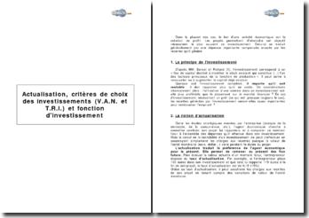 Actualisation, critères de choix des investissements (VAN et TRI) et fonction d'investissement