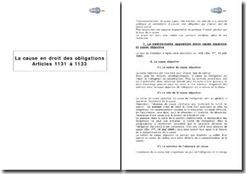 La cause en droit des obligations: articles 1131 à 1133