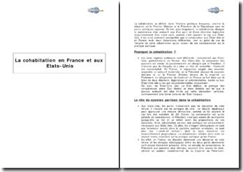 La cohabitation en France et aux Etats-Unis
