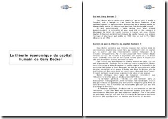 La théorie économique du capital humain de Gary Becker