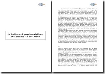 Le traitement psychanalitique des enfants. Anna Freud