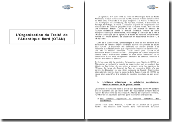 L'Organisation du Traité de l'Atlantique Nord (OTAN)