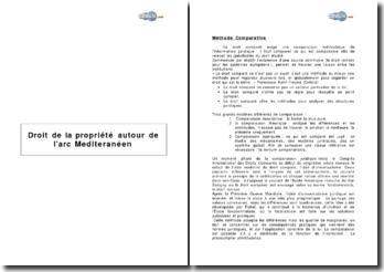 Droit de la propriété autour de l'arc méditerrannéen: méthode comparative