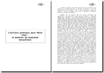 L'écriture poétique pour René Char : la solution du dualisme héraclitéen