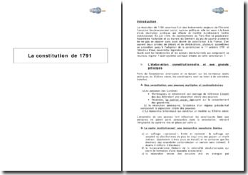 La Constitution de 1791, l'élaboration constitutionnelle et ses grands principes