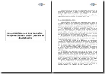 Les commissaires aux comptes : Responsabilités civile, pénale et disciplinaire