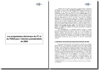 Les programmes électoraux du PT et du PSDB pour l'élection présidentielle de 2006 au Brésil