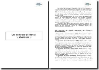Les contrats de travail « atypiques »