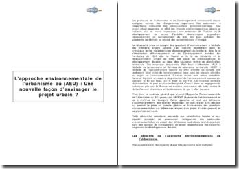 L'approche environnementale de l'urbanisme (AEU) : une nouvelle façon d'envisager le projet urbain ?