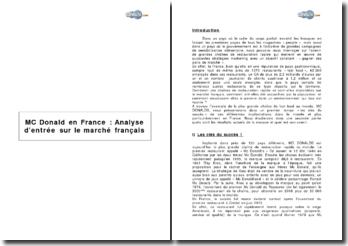 McDonald's en France : Analyse d'entrée sur le marché Français