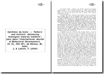 Synthèse du texte : « Fathers' and mothers' distancing strategies towards toddlers, paru dans l'International Journal of Behavioral Development, 24 (3), 356-361, de Deleau, M., Juhel, J., & Labrell, F. (2000)