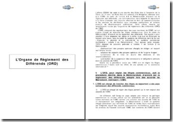 L'Organe de Réglement des Différends (ORD)
