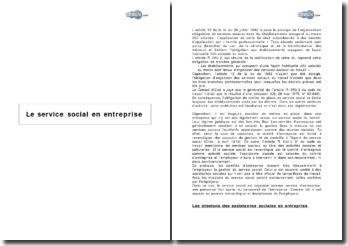 Le service social en entreprise