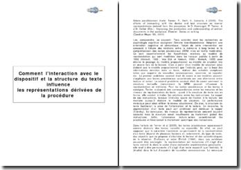 Comment l'interaction avec le dispositif et la structure du texte influencent les représentations dérivées de la procédure?