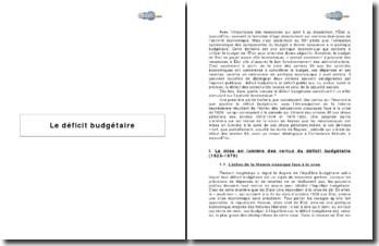 Le déficit budgétaire