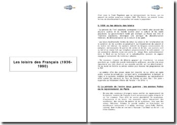 Les loisirs des Français 1936-1990