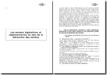 Les normes législatives et réglementaires au sein de la hiérarchie des normes