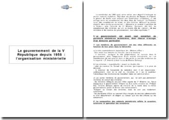 Le gouvernement de la Ve République depuis 1958 : l'organisation ministérielle