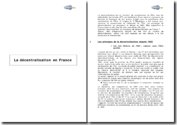 L'état de la décentralisation en France