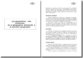Les géographes: des influences de la géographie allemande à la nouvelle géographie
