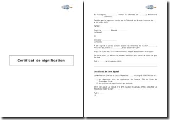 Certificat de signification