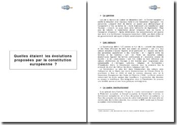 Quelles étaient les évolutions proposées par la constitution européenne?