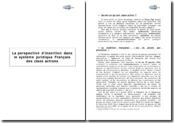 La perspective d'insertion dans le système juridique français des class actions