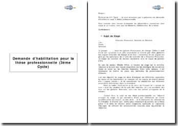 Demande d'habilitation pour la thèse professionnelle (3ème Cycle)