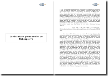 La dictature personnelle de Robespierre, étude d'un passage du manuel de J.J. Chevallier