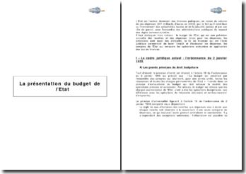 La présentation du budget de l'Etat