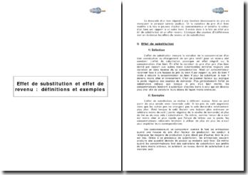 Effet de substitution et effet de revenu : définitions et exemples